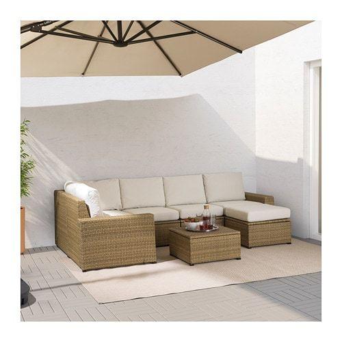 Solleron Modular Corner Sofa 4 Seat Outdoor Brown With Footstool Brown Froson Duvholmen Dark Gray Ikea Outdoor Deck Furniture Wicker Patio Sectional Ikea Garden Furniture