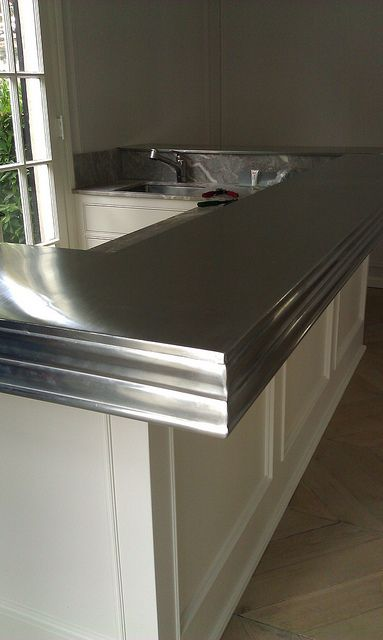 Zinc countertop edge kitchen pinterest countertops for Zinc kitchen countertop