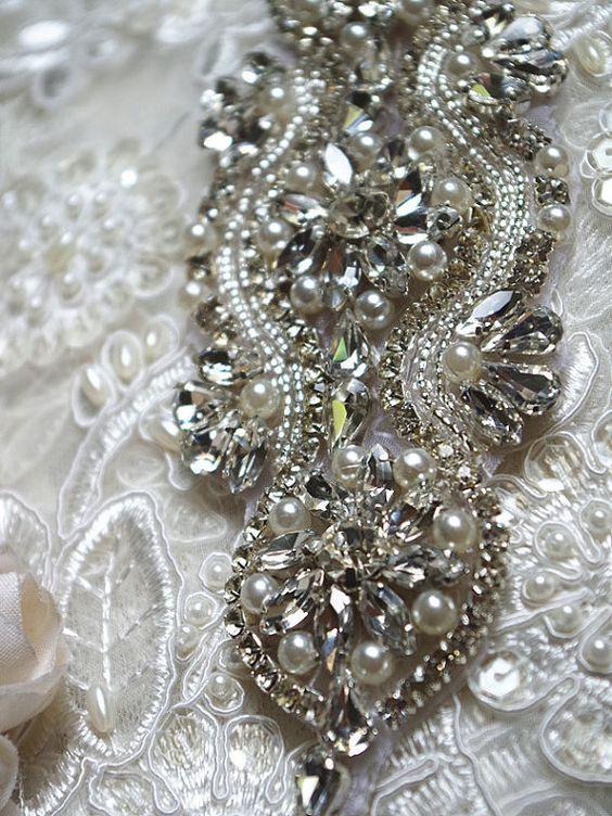 rhinestone applique crystal applique bridal by WeddingbySophie
