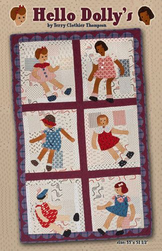Vintage style WELL HELLO DOLLIES Mini Quilt by DorothyPrudieFabrics, $6.50
