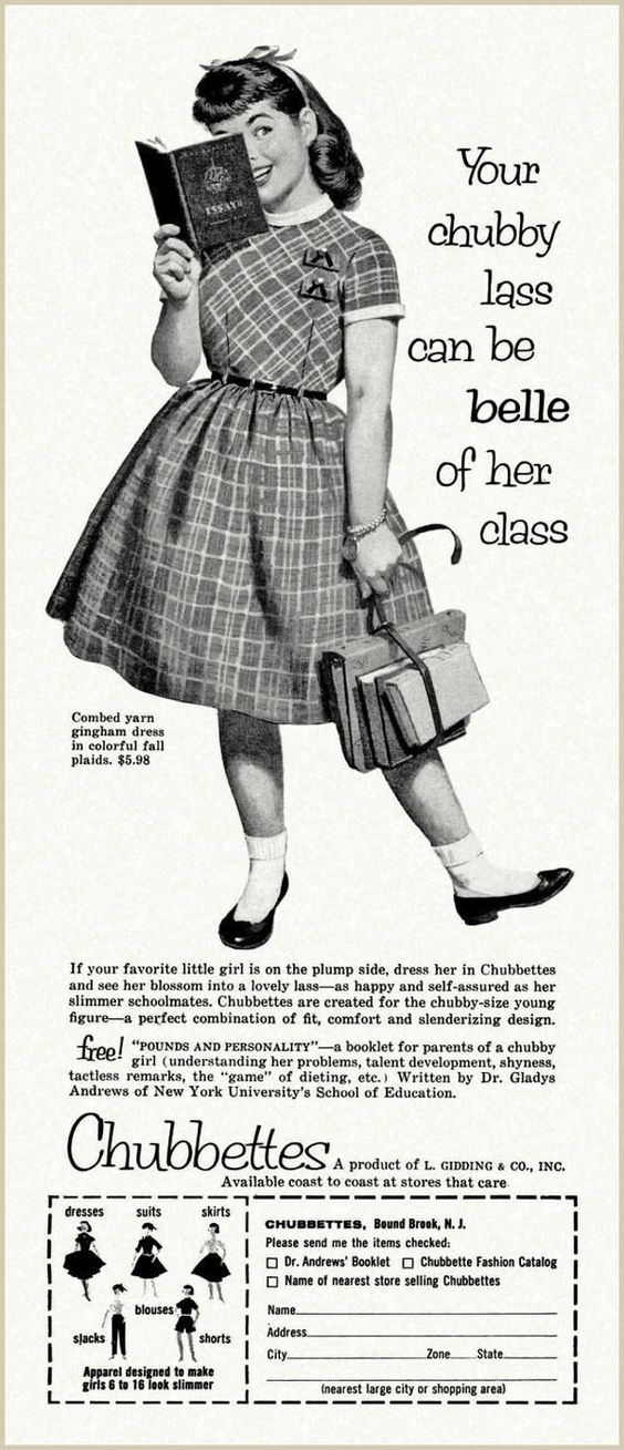 Chubettes, the badly-named clothing line for overweight girls, 1957...seriously?