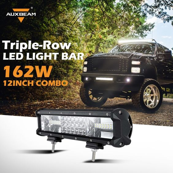 62.99$  Watch now - http://alirhq.worldwells.pw/go.php?t=32739900238 - Auxbeam 12inch 162W Cree Chips Triple-Row Led Light Bar Combo OffRoad Work Light for ATV SUV 4WD 4X4 Boat Truck Car Headlight 62.99$
