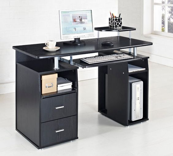 black computer desk table furniture for cool white home office design ideas g