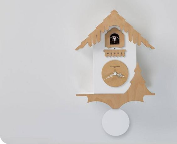 Chalet Clock in Birch and White