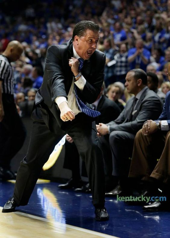 Kentucky head coach John Calipari fired up the bench as his team began a come from behind win in the second half of the Kentucky vs Georgia SEC Men's Basketball Tournament semifinal game at Bridgestone Arena in Nashville, Tenn., on March 12, 2016. Kentucky beat Georgia 93-80 and advance to the championship game against Texas A