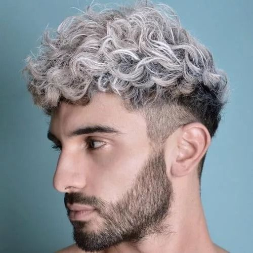 Curly Hair Styles With Undercut Platinum Undercut Wavy Hair Men Men Hair Color Curly Hair Styles