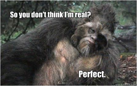 So you don't think I'm real? Perfect. #MCTA #Squatch