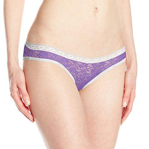 Kensie Women's Lacy Darci Bikini Panty, Purple, Medium. Soft floral lace. Low-rise.