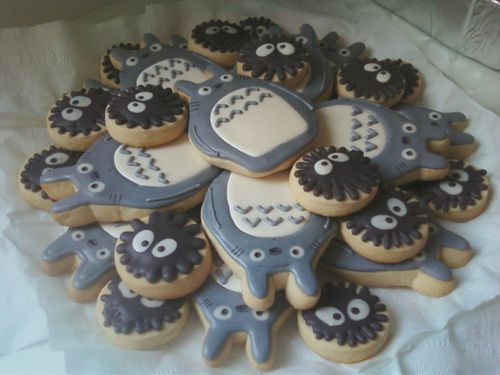 Totoro and dust bunny cookies