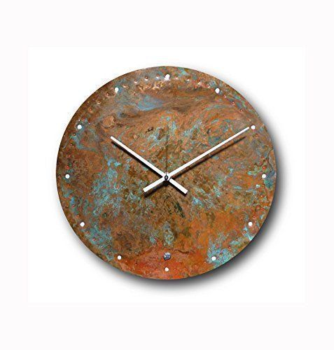Large Copper Wall Clock 12 Inch Round Decorative Rustic Metal Original Silent Non Ticking Quartz For Home Rustic Wall Clocks Large Metal Wall Clock Large Wall Clock Modern