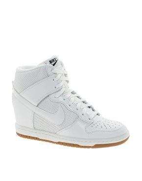 If  I were younger, these would so be my back to school shoes! Nike Dunk Sky High Mesh White Wedge Trainers