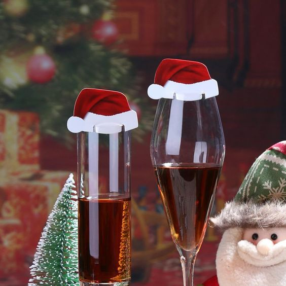 10x Nice Cup Tag Christmas Wine Glass Table Name Cards New Xmas Party Decoration