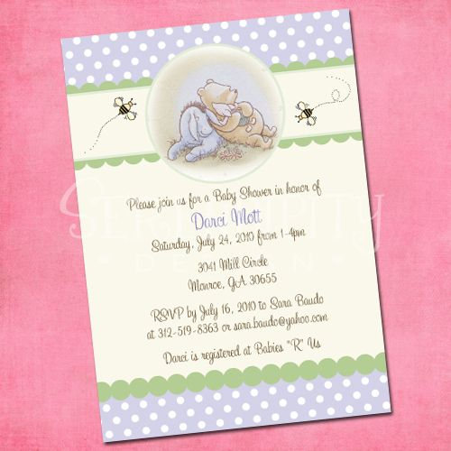 classic pooh-baby shower, honey bee, pooh bear, winnie the pooh, Baby shower invitations