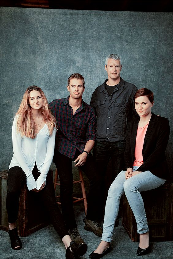 Shailene Woodley, Theo James, director Neil Burger and author Veronica Roth
