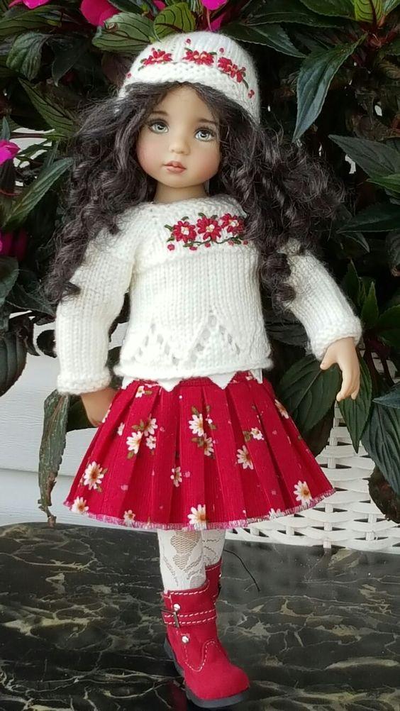 Hand-knit sweater and skirt set made for Effner Little darling  dolls ebay seller kalyinny: