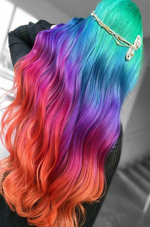 Awesome Unique Rainbows Hair Color Ideas Rainbow Hair Color Cool Hair Color Hair Color Unique