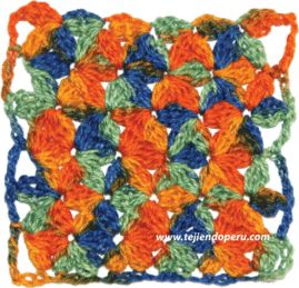 Punto jazmín tejido a crochet.