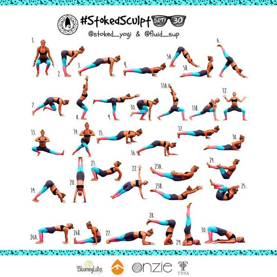 """""""Getting fired up for a month of sweaty fun with our September HIIT vinyasa challenge #stokedsculptdirty30  - a 30 day interval workout that will build…"""""""