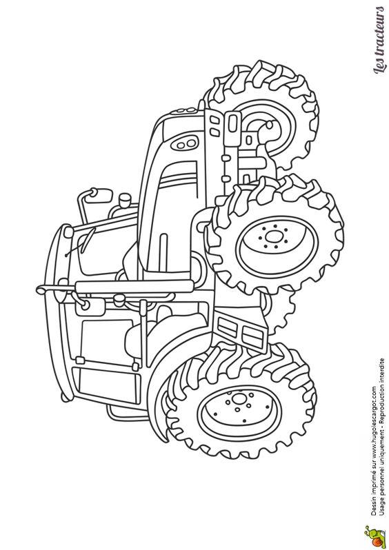 Dessin d'un tracteur agricole moderne, à colorier