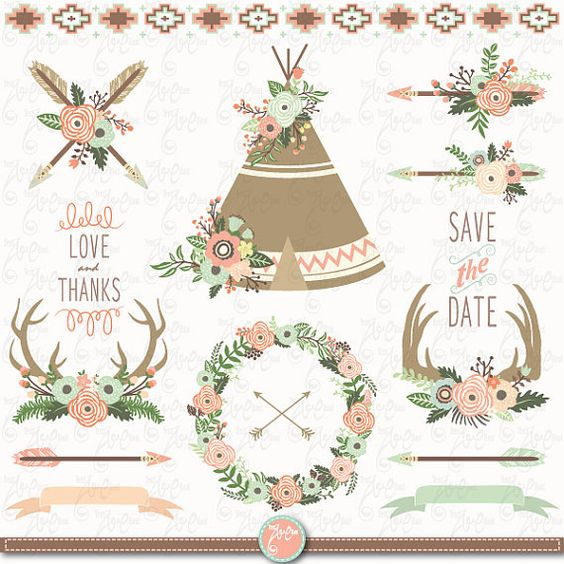 Floral Tribal clip art FLORAL TEEPEE ClipartFloral by YenzArtHaut