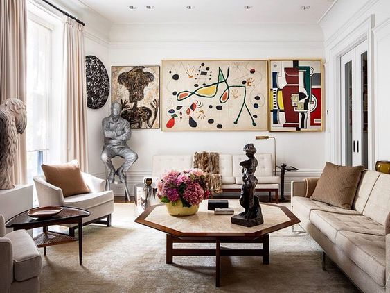Paintings by Jean Dubuffet, Joan Miró, and Fernand Léger, plus sculptures by Jeff Koons and Henri Matisse. Decorator Russel Groves