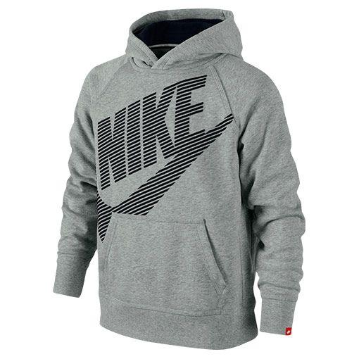 Boys' Nike HBR SB Pullover Hoodie| Finish Line | Dark Grey Heather/Black