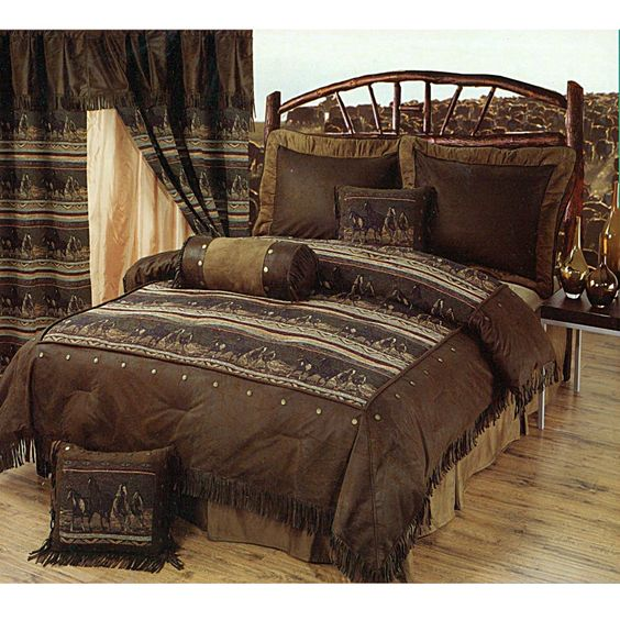 Mustange horses southwestern style bedding set available for Western style beds