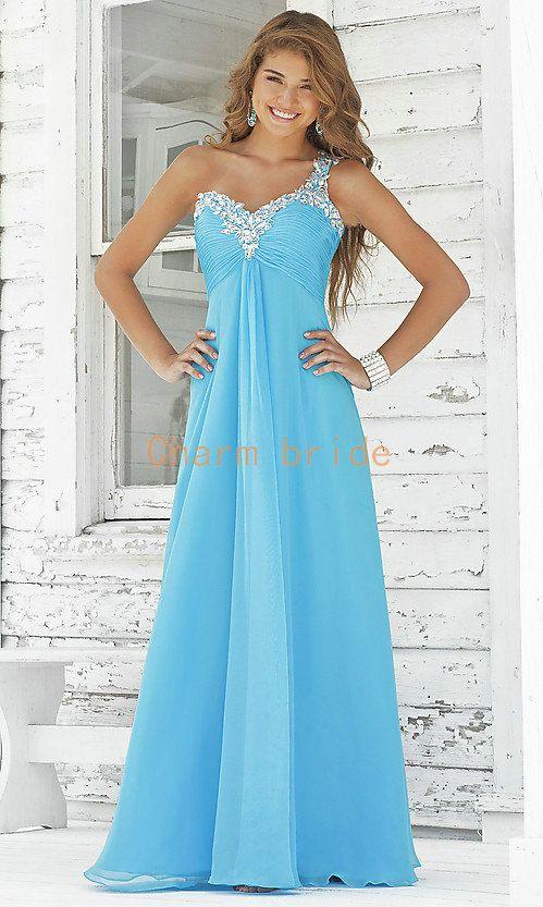 one shoulder chiffon blue prom dresses pink long evening dress ...