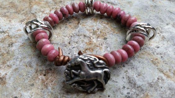 Gemstone Beaded Bracelet Rhodocrosite Rose Pink by GemsJewelsGirls