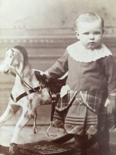 Chardon-Ohio-Antique-Cabinet-Photo-Child-Posing-With-Toy-Rocking-Horse