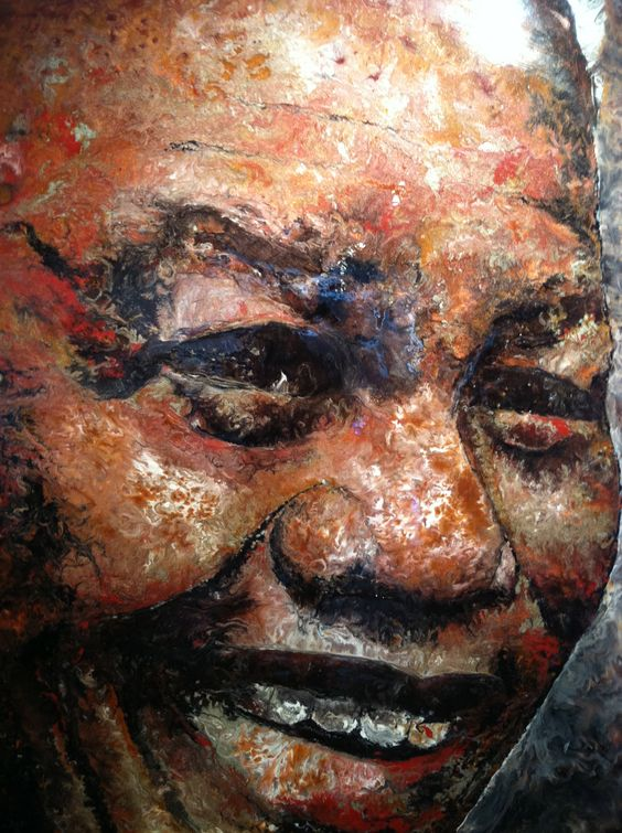 The Nelson Mandela. Painting by Soroush Payandeh  Technique Mix Media on Wood Size 4x6 foot www.payandehdesign.com www.soroushpayandeh.com