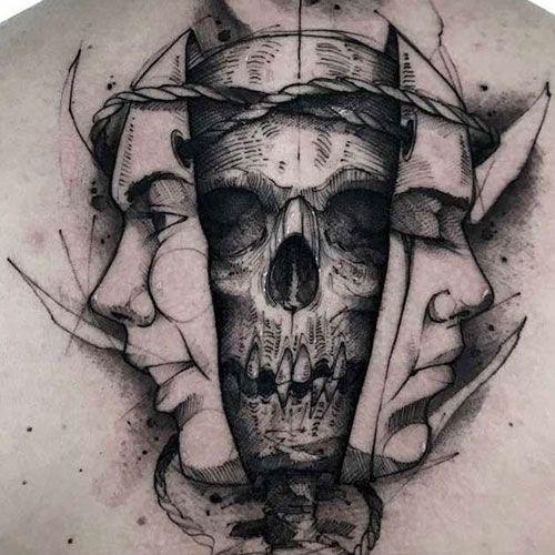 125 Best Skull Tattoos For Men Cool Designs Ideas 2020 Guide Tattoos For Guys Skull Tattoos Chest Piece Tattoos