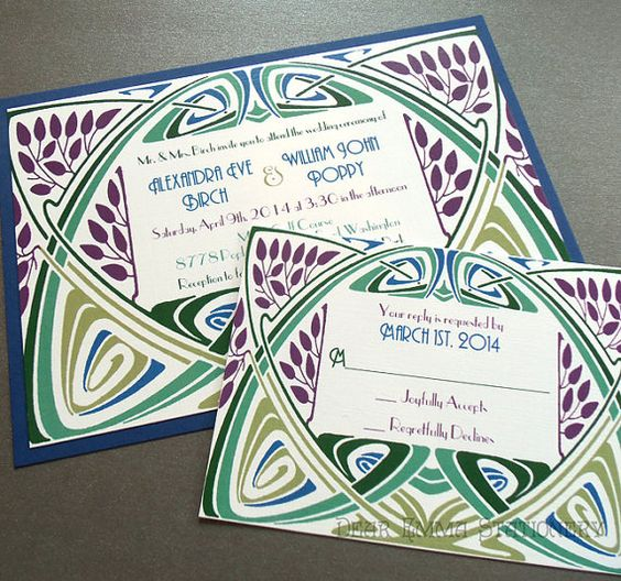Art Nouveau Garden Frame - Wedding Invitations and Reply card - 1920's Wedding - Colorful and Personalized - SAMPLE ONLY