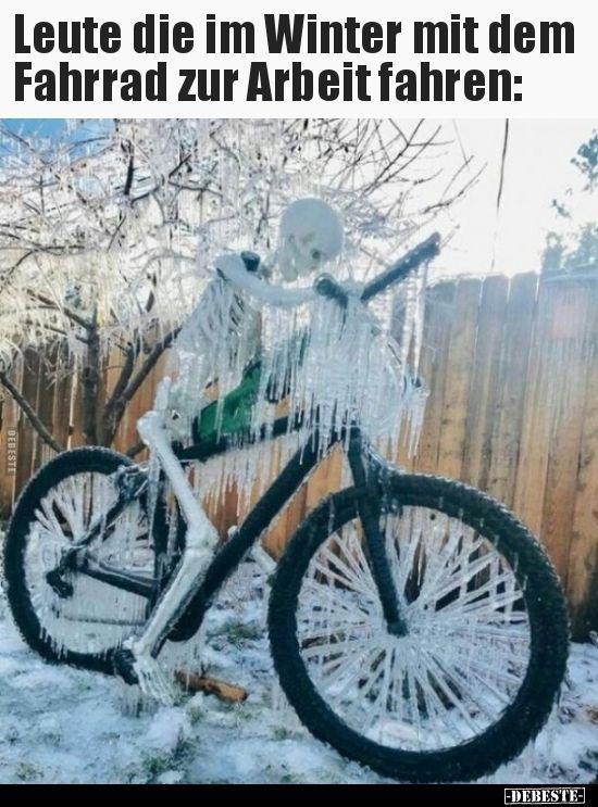 Leute Die Im Winter Mit Dem Fahrrad Zur Arbeit Fahren Fahrrad