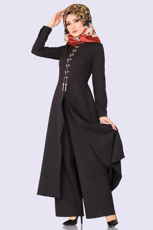 Modaselvim Tulum Kus Gozu Detay Tulum 2124ms212 Siyah Basortusu Modasi Moda Stilleri Giyim