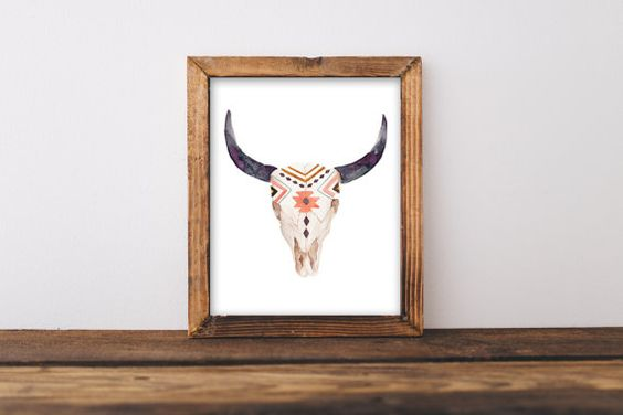 Schädel Kuh Stier Kopf-print Boho Wandkunst von PrintableLifeStyle