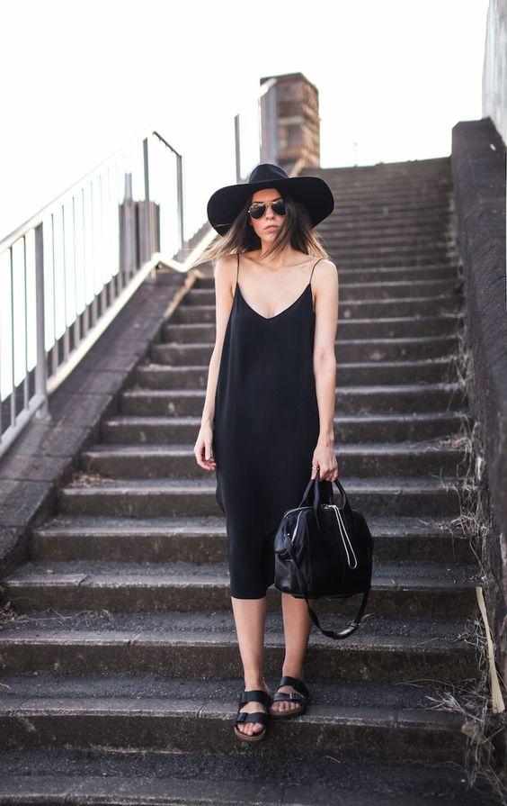 modern legacy fashion blog ysl hat wide brim topshop silk cami slip dress street style inspo details monochrome trend vera xane black white ...: