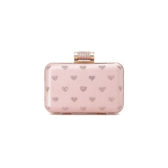 Inge Christopher Hearts Clutch (1.075 BRL) ❤ liked on Polyvore featuring bags, handbags, clutches, pink, pink purse, kiss-lock handbags, chain strap purse, chain strap handbags and satin purse