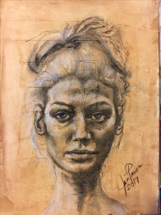 Charcoal portrait by Jan Paron, 2017 #charcoal #portraitpainting #paintingyourheartandsoil2017