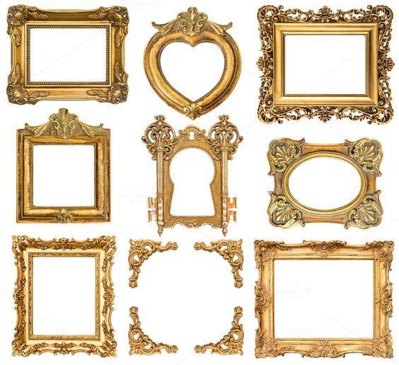 Check out baroque style antique golden frames by LiliGraphie on Creative Market
