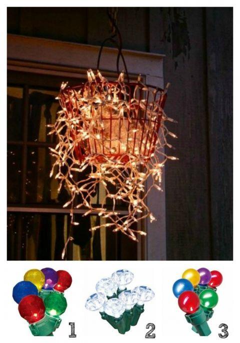 Hanging basket of lights