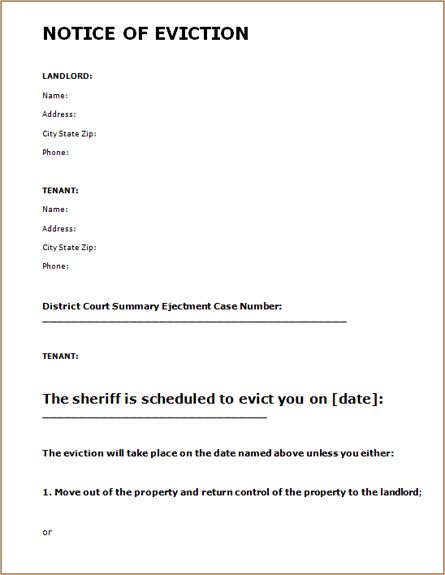 printable sample eviction notice form real estate forms pinterest letter form and letters