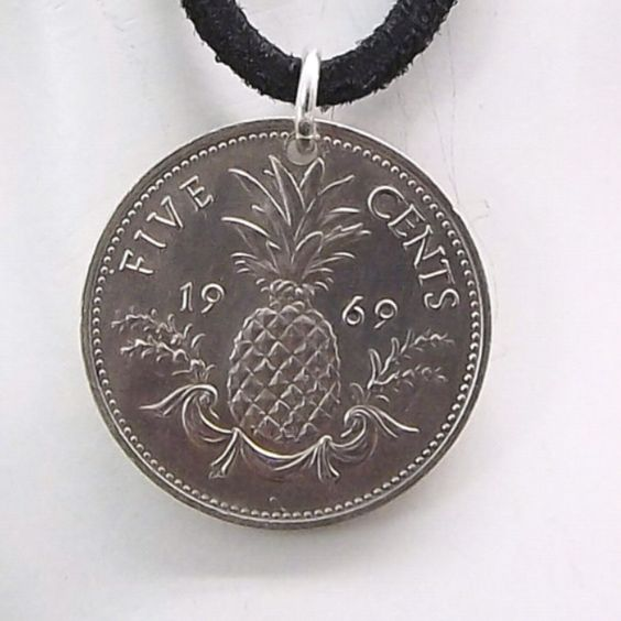 Necklace made with a 1969 Bahamas Pineapple coin.