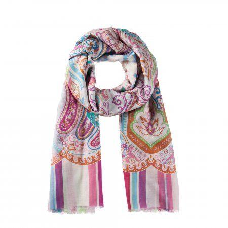 Der luftige Schal überzeugt mit digitalem Paisley-Print auf ganzer Linie! Fröhliche Farben ziehen sich durch das aufwändige Design und geben ihm einen Frische-Kick. Der qualitative Seiden-Anteil im Material verleiht ihm eine angenehm kühle und fließende Beschaffenheit.