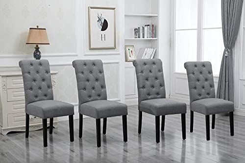 Amazing Offer On Homesailing Comfortable Kitchen Dining Room Chairs Only Set 4 Grey Fabric Upholstered High Back Armless Chairs Side Chairs Bedroom Living Roo In 2020 High Back Dining Chairs Dining