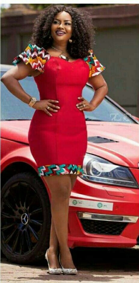 Lovely African Fashion Short Cut Red Bodycon Dress