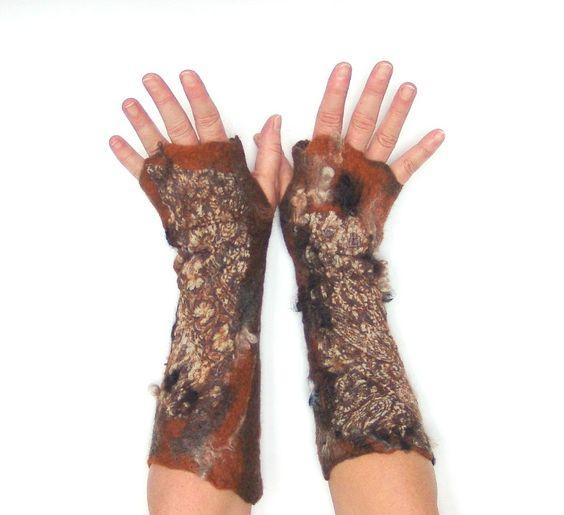 Reserved    Felted fingerless gloves  Mittens -  Brown