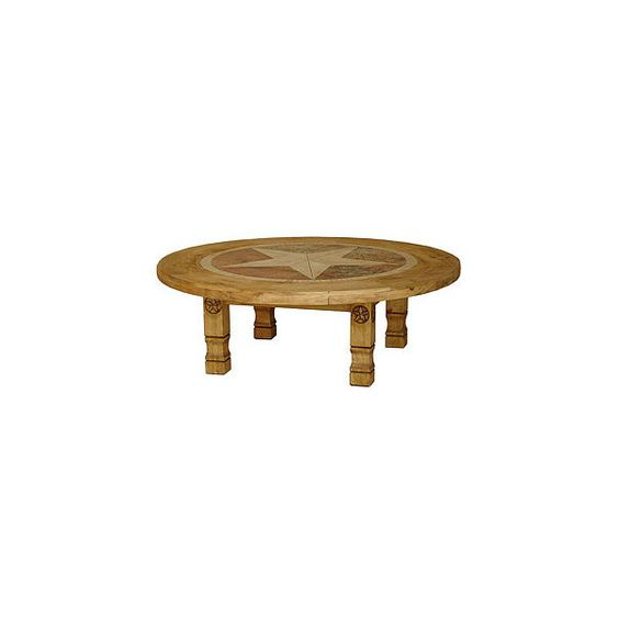 La Fuente Imports Rustic Pine Furniture Round Inlaid Julio Coffee Table W Stars Found On