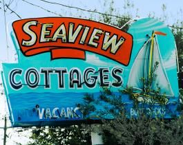 Seaview Cottages neon sign in Santa Monica, California