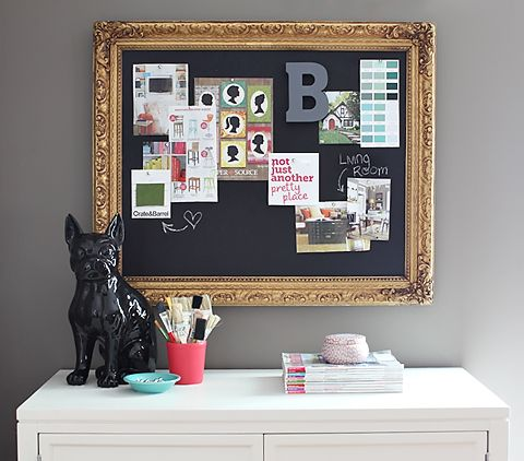 DIY Inspiration Board (made of cork and painted w/ chalkboard paint)
